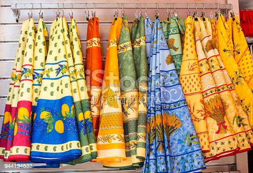 French Fabric Tablecloths in Provence, Antibes, France