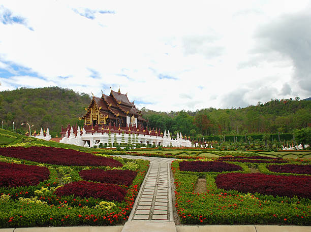 Traditional thai architecture in the Lanna style , Royal Pavilio stock photo