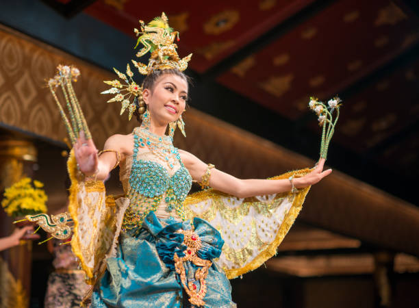 traditional thai dance, songkran festival, thailand - thai culture stock photos and pictures
