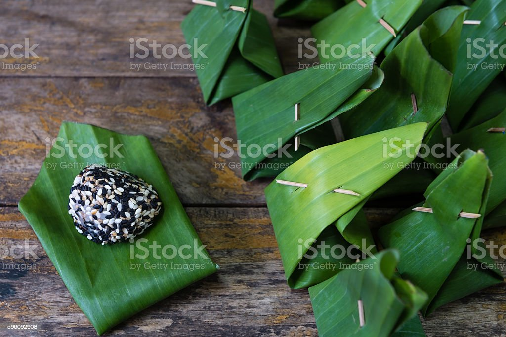 traditional thai dessert wrapped in banana leaf royalty-free stock photo