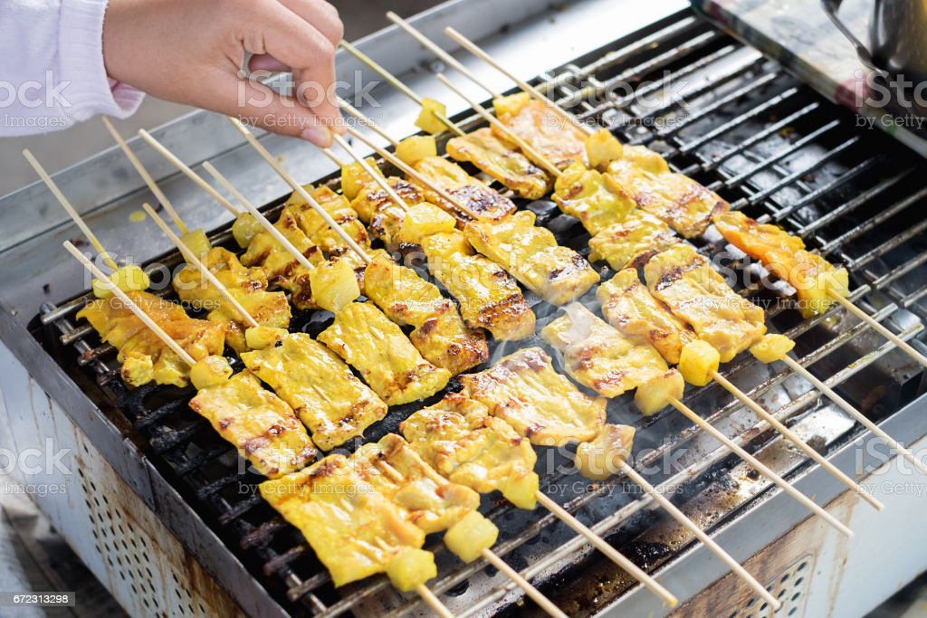 Traditional Thai, Grilled pork satay. Selective focus. stock photo