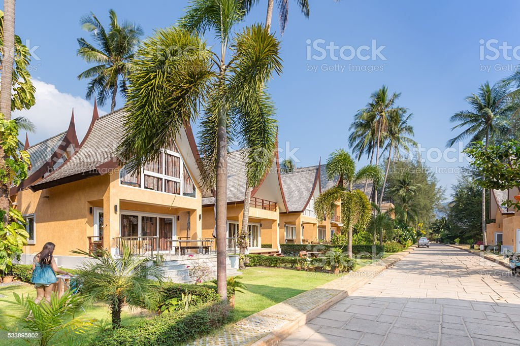 Traditional Thai house modern architecture near the beach. stock photo