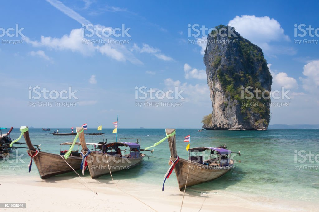 Traditional thai longtail boat at  Poda island ,Thailand stock photo