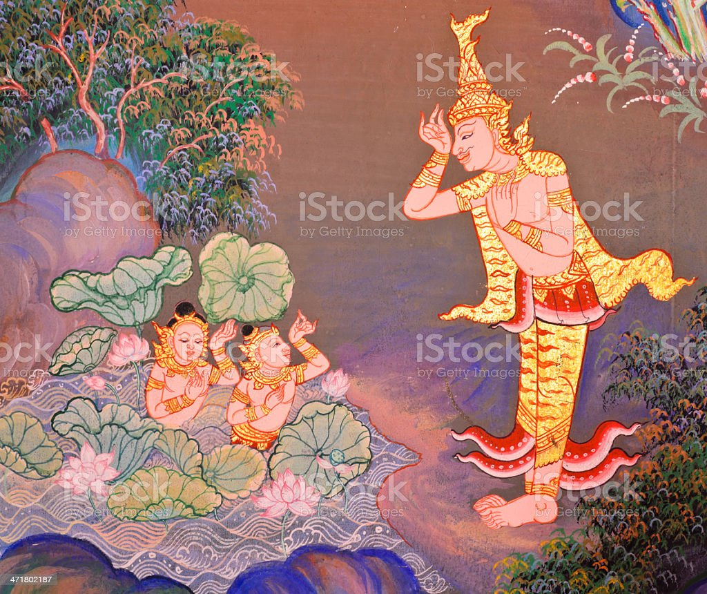 Traditional Thai mural painting royalty-free stock photo