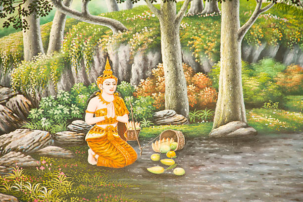 traditional thai mural painting the life of buddha - makha bucha stock photos and pictures