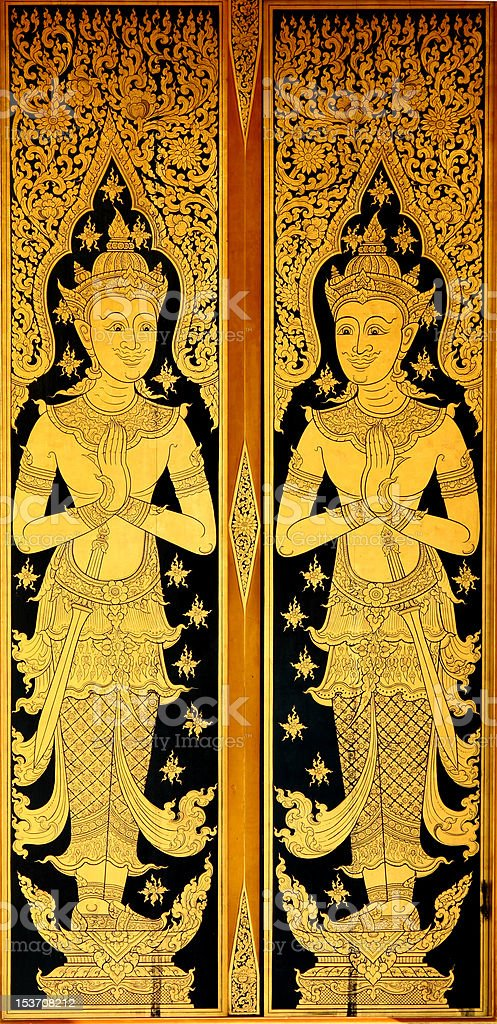 Traditional Thai painting art royalty-free stock photo