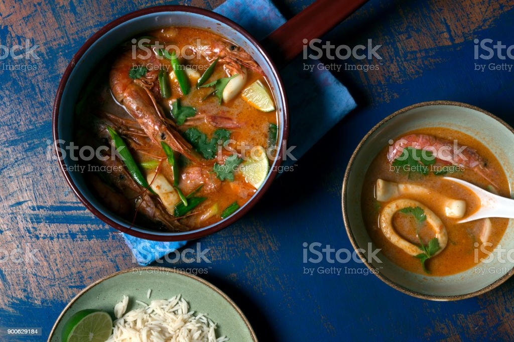 Traditional Thai soup Tom Yam stock photo