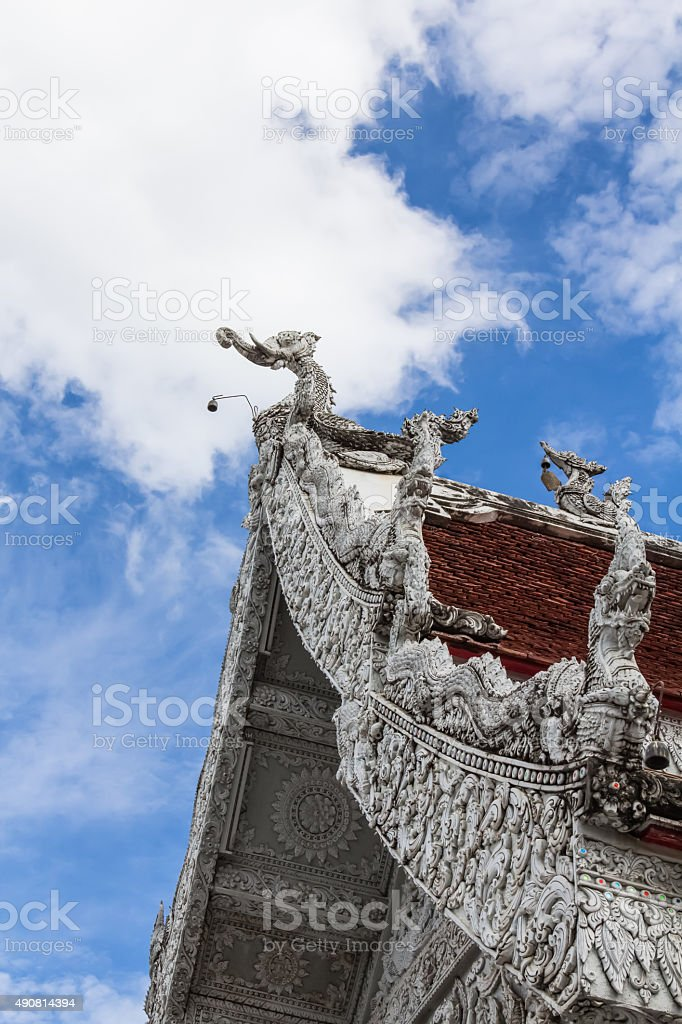 Traditional Thai style art of stucco in  The City Pillar stock photo