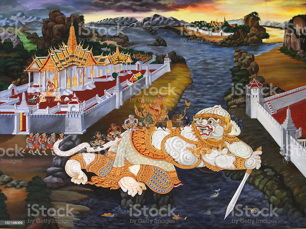 Traditional Thai style art painting royalty-free stock photo