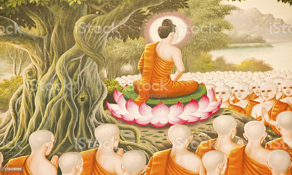 Traditional Thai style painting art old about Buddha story stock photo