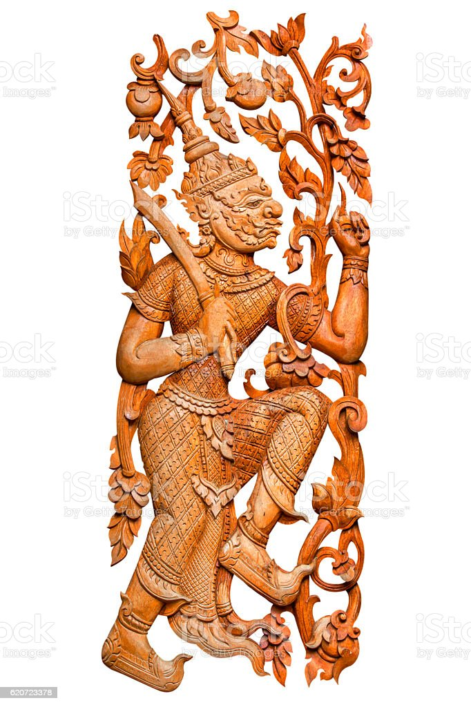 Traditional thai style pattern king of giant or ravana stock photo