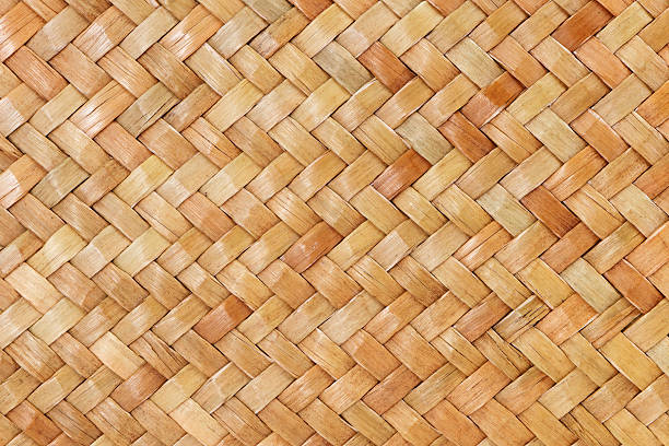 traditional thai style pattern nature background - halmslöjd bildbanksfoton och bilder