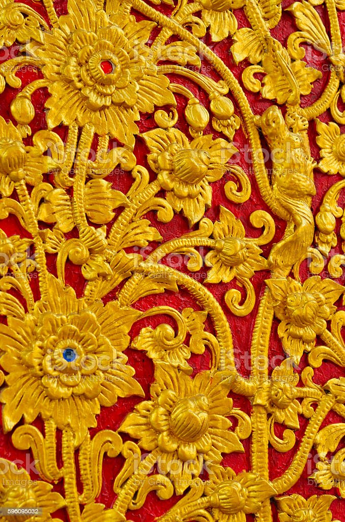 Traditional Thai style wood carving royalty-free stock photo