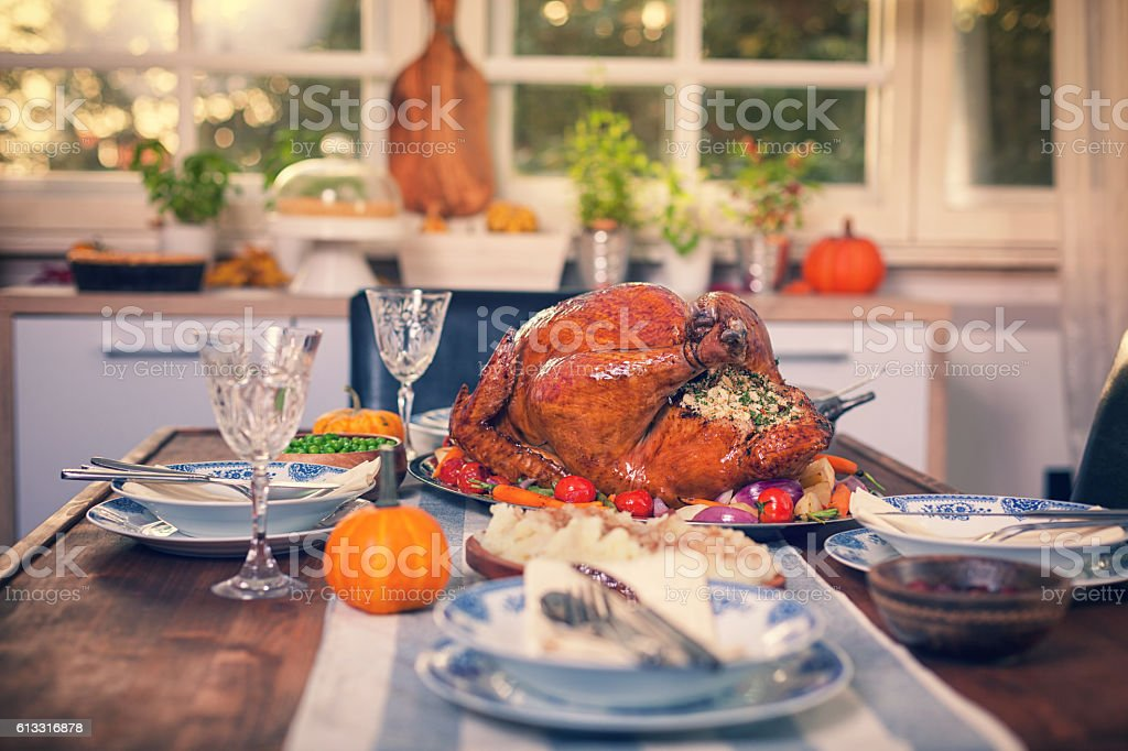 Traditional Thanksgiving Turkey With Side Dishes Royalty Free Stock Photo