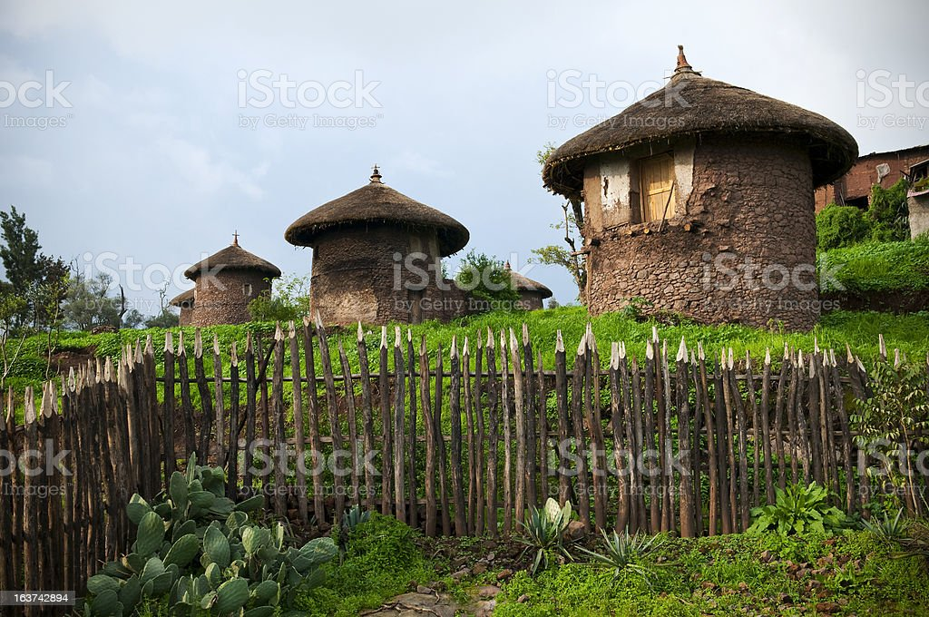 Traditional thatched-roof homes in Lalibela, Ethiopia royalty-free stock photo