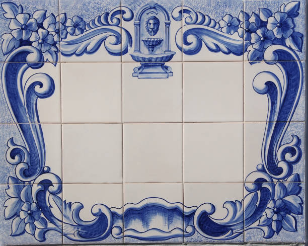 traditional tile plaque of blue portuguese tiles stock photo