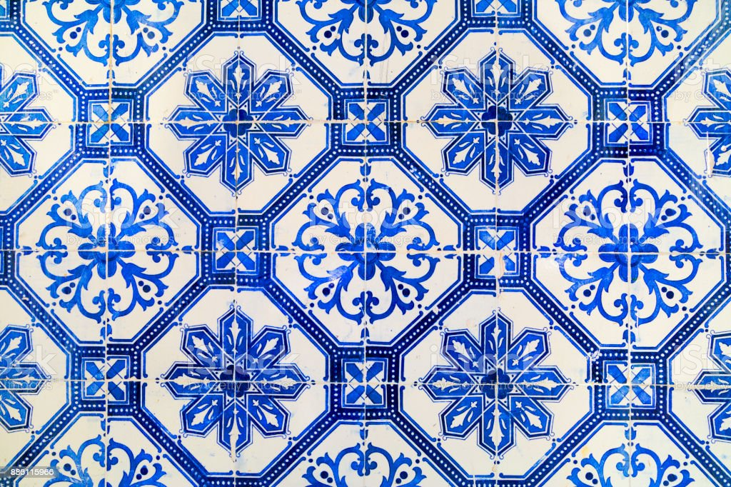 Traditional tiles from Cascais, in Portugal stock photo