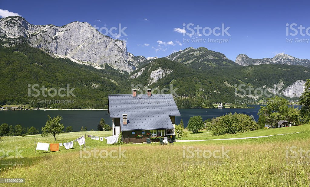 Traditional timbered country house, Grundlsee, Austria (XXXL) stock photo