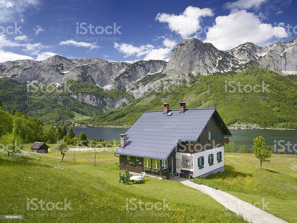 Traditional Timbered country house, Lake Grundlsee, Austria royalty-free stock photo