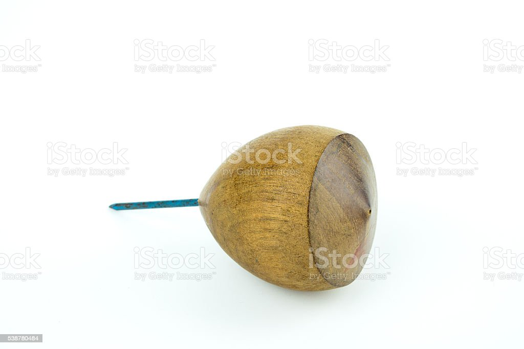 Traditional Toy - Spinning Top on white background stock photo