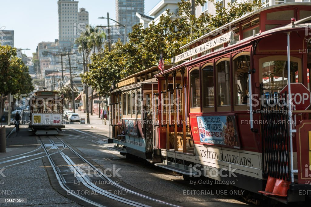 SAN FRANCISCO, CALIFORNIA, USA - OCTOBER 12, 2018: Traditional tram...