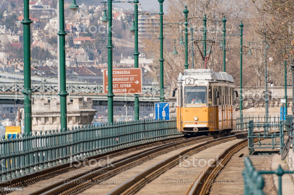 Traditional Tram in Budapest, Hungary stock photo