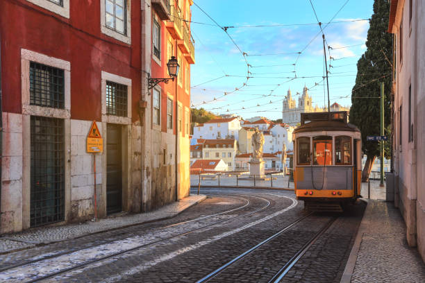 traditional tram  in the city centre of lisbon, portugal. - eletrico lisboa imagens e fotografias de stock
