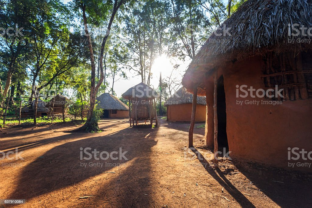 Traditional, tribal hut of Kenyan people stock photo
