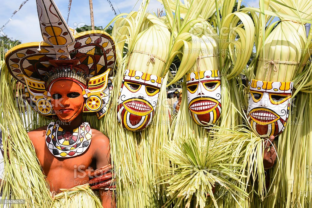 Traditional tribal mask-dance in Hindu Temple cultural procession, Kerala,India stock photo