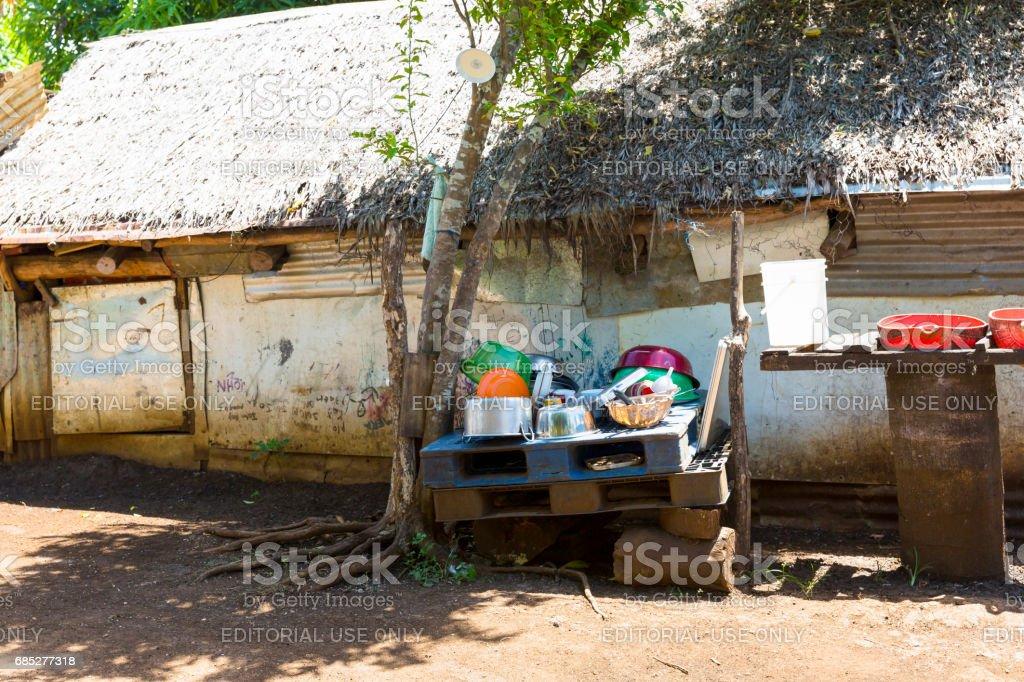 Port vila Vanuatu, traditional tribal village kitchen near Port Vila.