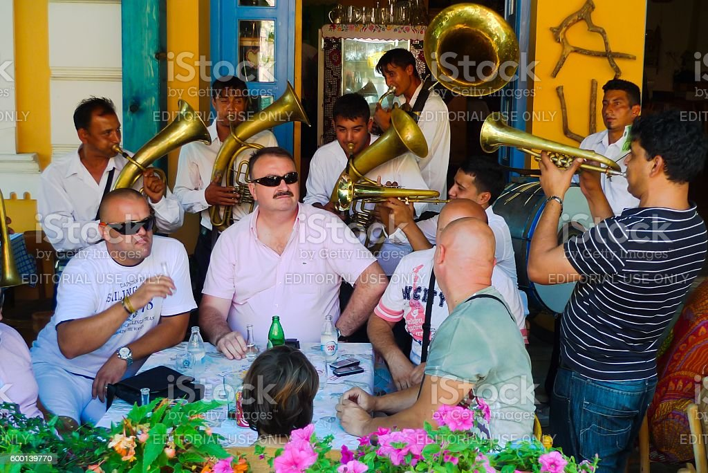 Traditional trumpet band in Serbia. Guca Trumpet Festival stock photo