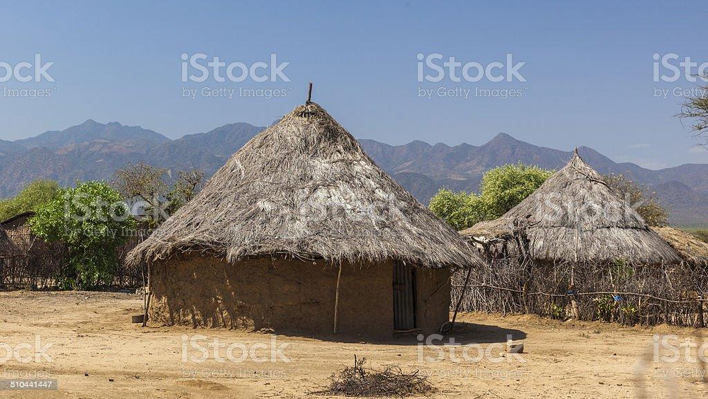 Traditional tsemay houses. Weita. Omo Valley. Ethiopia. stock photo