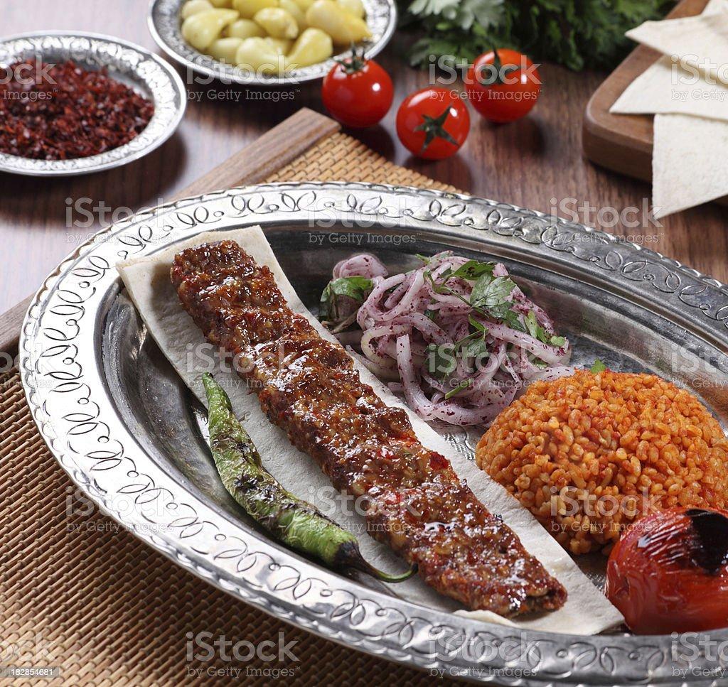 Traditional Turkish Adana Kebab royalty-free stock photo
