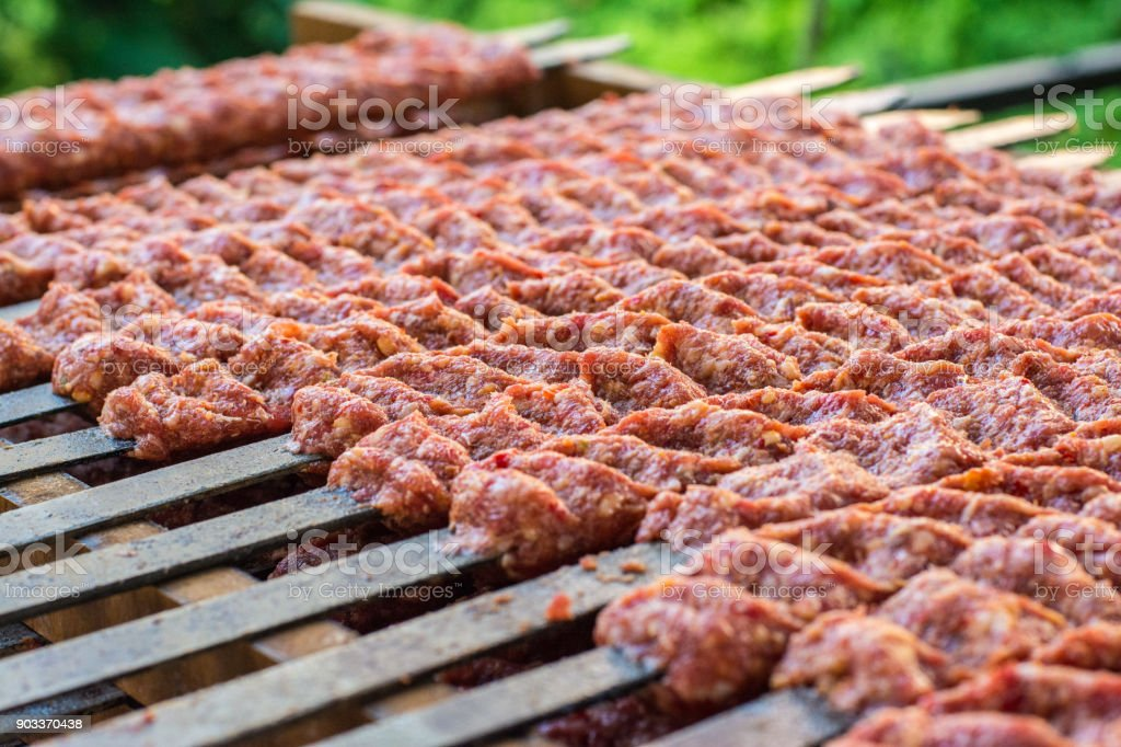 Traditional turkish adana kebab ready to cook stock photo