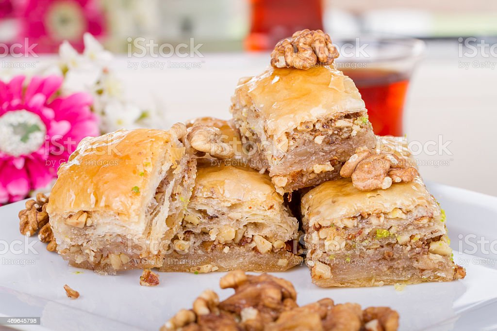 Traditional Turkish Arabic Dessert - Baklava with Honey and Nuts stok fotoğrafı