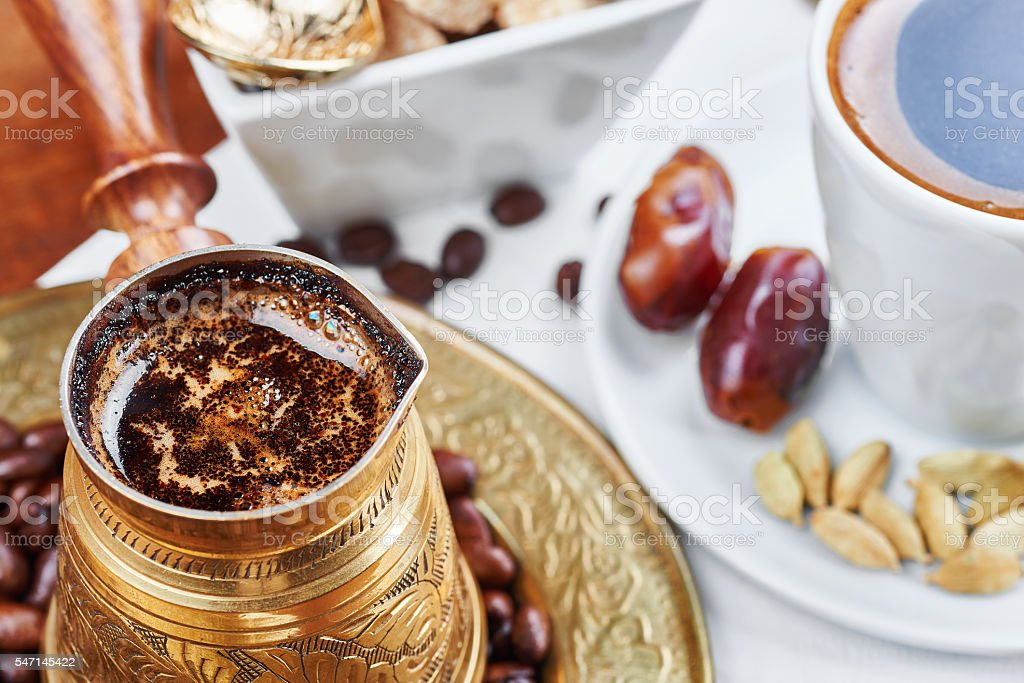 Traditional Turkish black coffee and sweet dainties stok fotoğrafı