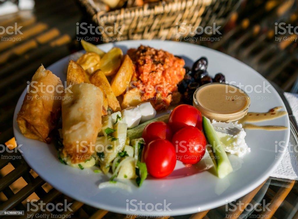 traditional turkish breakfast serving dish in istanbul turkey stock photo