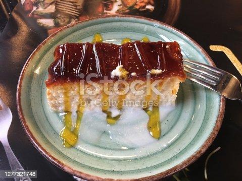 istock Traditional Turkish caramel dessert trilece, very sweet 1277321748