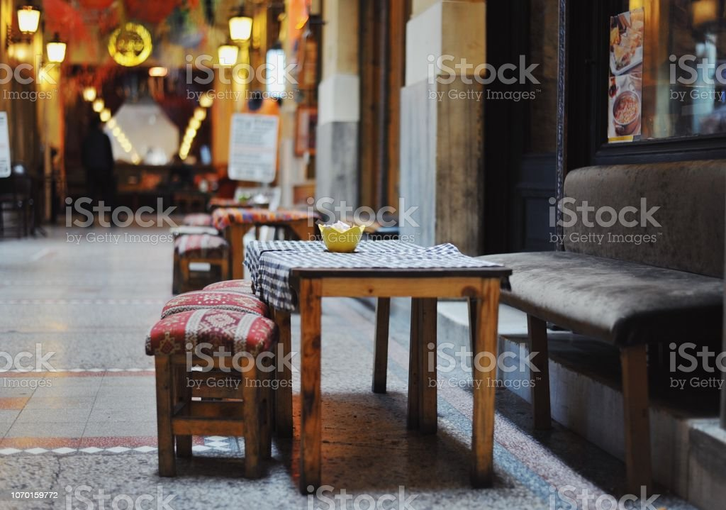 Traditional Turkish chair and table stock photo