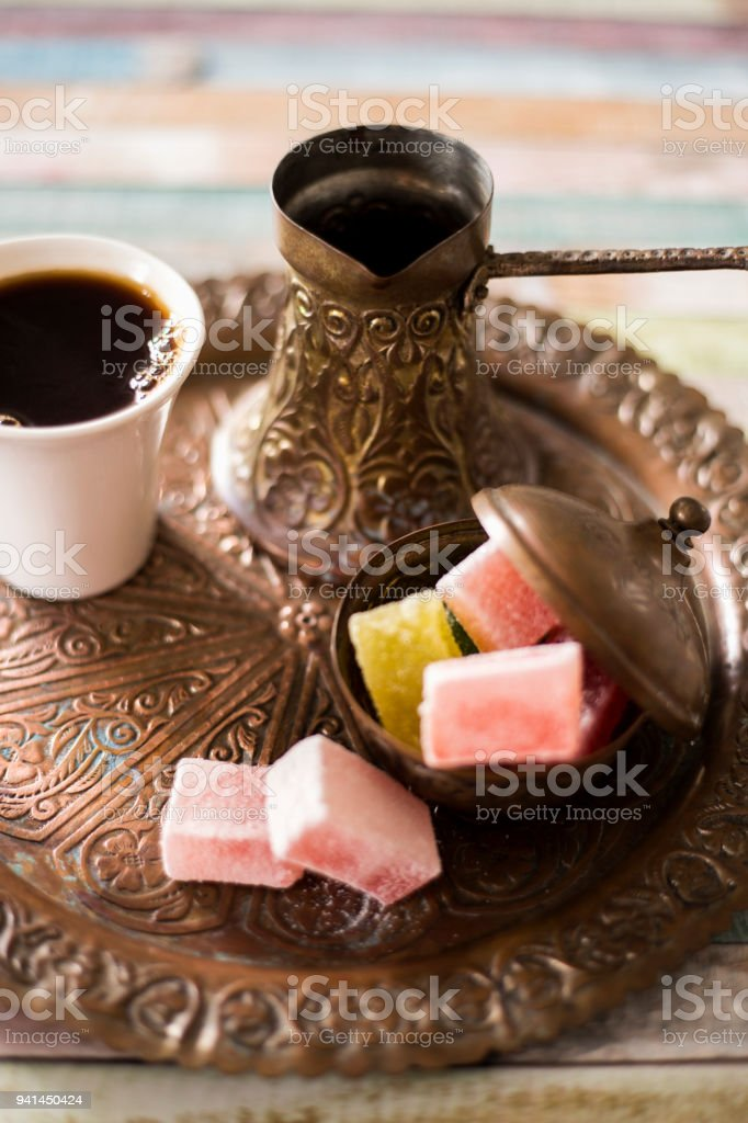 Traditional turkish coffee and turkish delight stock photo