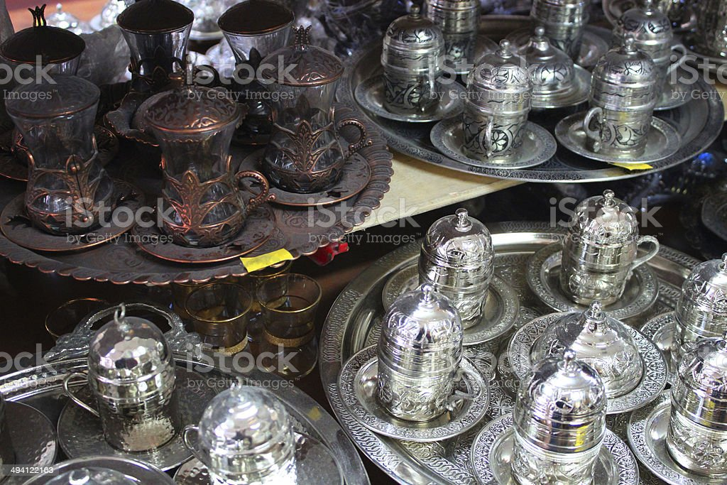 Traditional turkish coffee, authentic copper coffee sets royalty-free stock photo