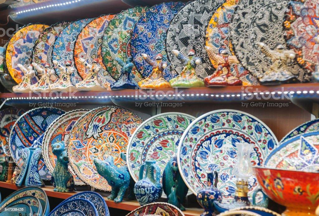 Traditional Turkish decorative ceramics for interior decoration stock photo