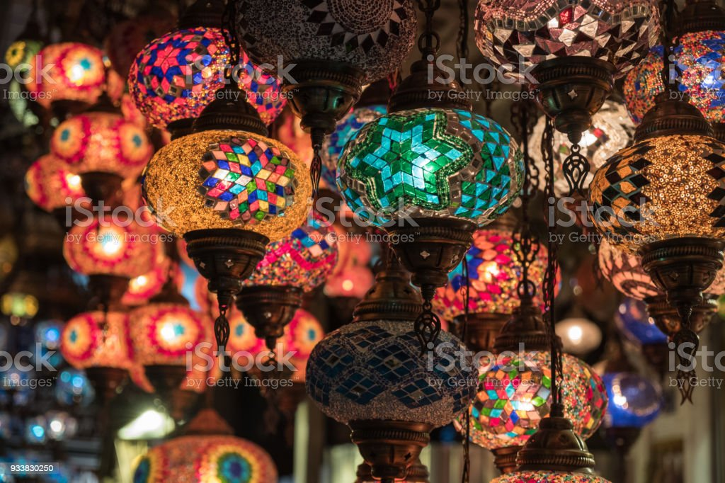 Traditional Turkish glass lanterns stock photo