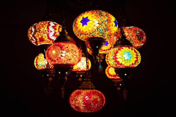 Traditional Turkish mosaic lamp oriental at night macro stock photo