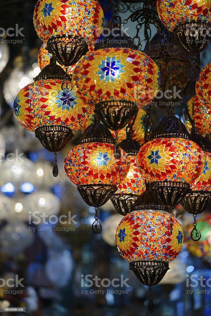 Traditional turkish mosaic lanterns royalty-free stock photo