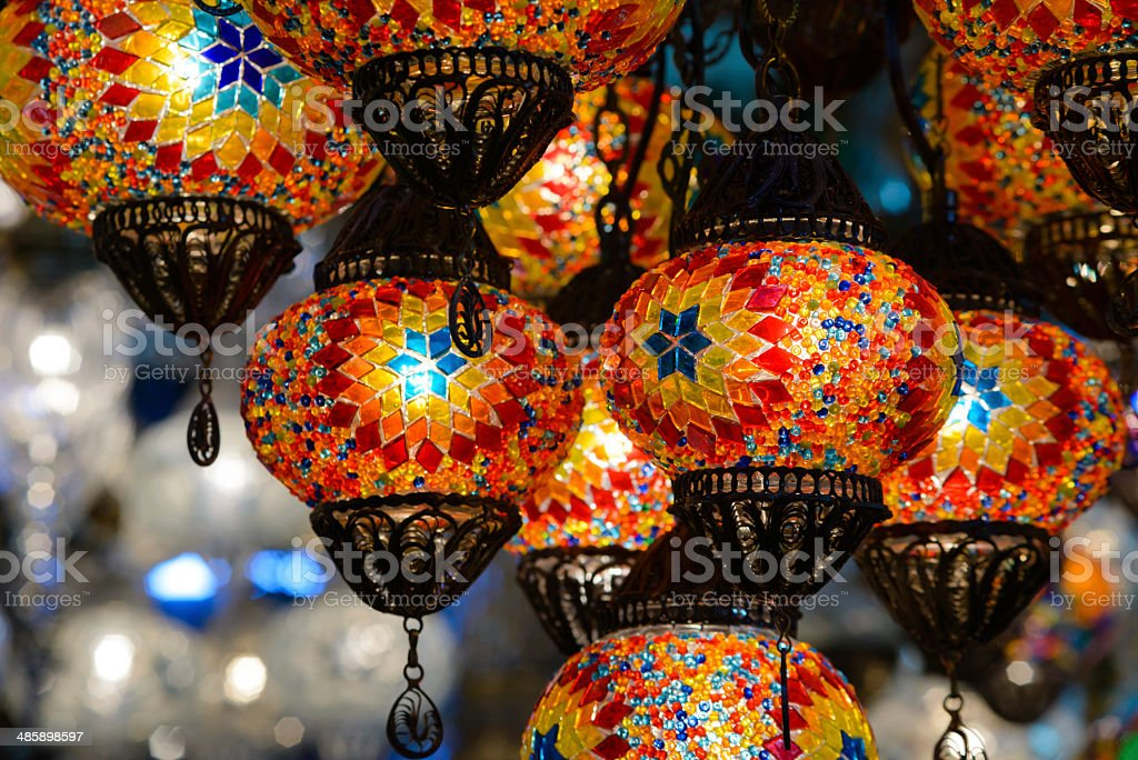 Traditional turkish mosaic lanterns stock photo
