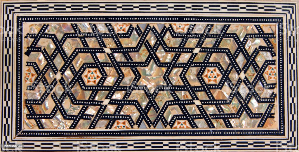 Traditional Turkish pattern on handicraft wooden box stock photo