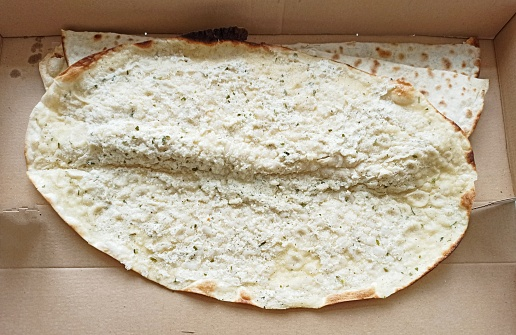 Traditional turkish pita with labne cheese in Istanbul turkey
