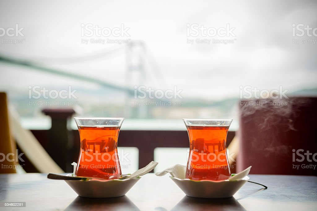 Traditional Turkish Tea in Istanbul stock photo