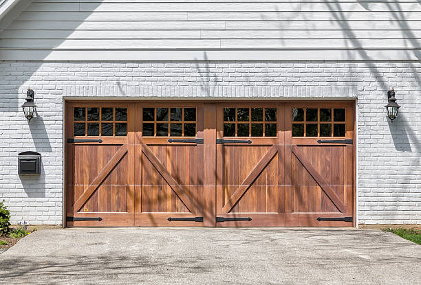 Traditional two car garage stock photo